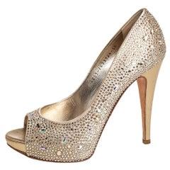 Gina Gold Satin Peep toe Pumps Size 38.5