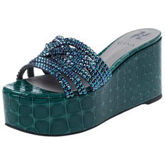Gina Green Croc Embossed Leather Embellished Wedge Platform Sandals Size 37.5
