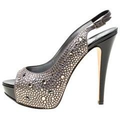 Gina Grey Satin Crystal Embellished Platform Peep Toe Slingback Sandals Size 37