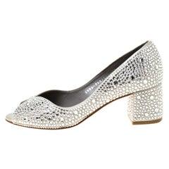 Gina Light Grey Satin Crystal Embellished Peep Toe Pumps Size 37