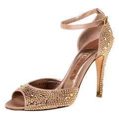 Gina Metallic Bronze Crystal Embellished Ankle Strap Sandals Size 37.5