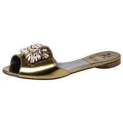 Gina Metallic Gold Crystal Embellished Flat Slides Size 37.5