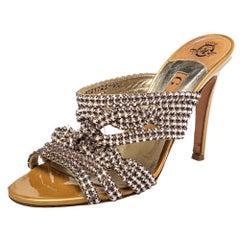 Gina Metallic Gold Crystal Embellished Leather Slide Sandals Size 37.5