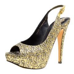 Gina Metallic Gold Glitter Peep Toe Platform Slingback Sandals Size 37