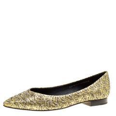 Gina Metallic Gold Glitter Pointed Toe Flats Size 39