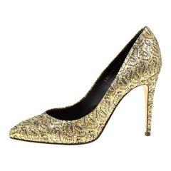 Gina Metallic Gold Glitter Pumps Size 40