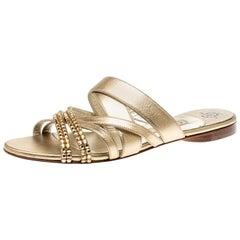 Gina Metallic Gold Leather Embellished Flat Sandals Size 38