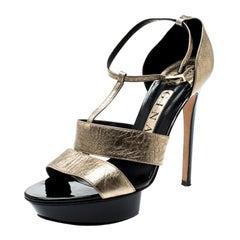Gina Metallic Gold Leather T Strap Platform Sandals Size 39