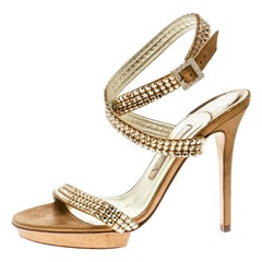 Gina Metallic Gold Suede Crystal Embellished Cross Ankle Strap Sandals Size 37
