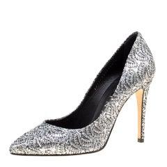 Gina Metallic Silver Glitter Pumps Size 38