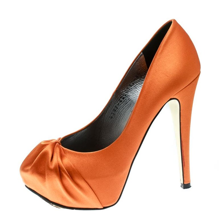 Gina Orange Satin Claire Hoodie Platform Pumps Size 36.5 For Sale 2