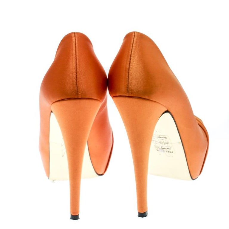 Gina Orange Satin Claire Hoodie Platform Pumps Size 36.5 For Sale 3