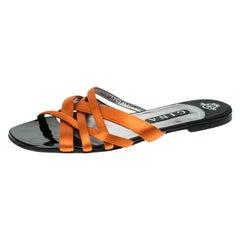 Gina Orange Satin Flat Slides Size 41