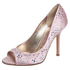 Gina Pink Satin Crystal Embellished Peep Toe Pumps Size 37