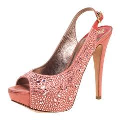 Gina Pink Satin Crystal Embellished Peep Toe Slingback Sandals Size 37.5