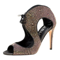 Gina Purple Crystal Embellished Leather Cut Out Peep Toe Sandals Size 40