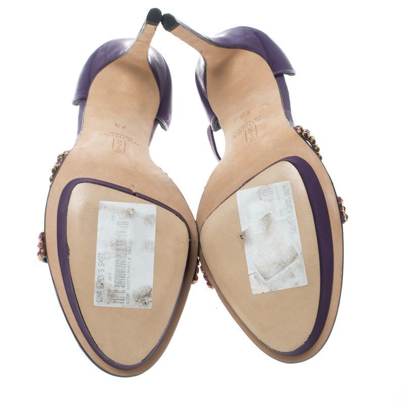 e8906825072 Gina Purple Leather Crystal Embellished T Strap Platform Sandals Size 40.5  For Sale at 1stdibs