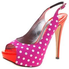 Gina Purple Polka Dot Fabric Peep Toe Slingback Sandals Size 37.5