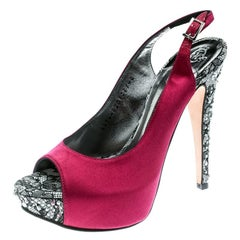 Gina Purple Satin Crystal Embellished Heel Peep Toe Slingback Sandals Size 37