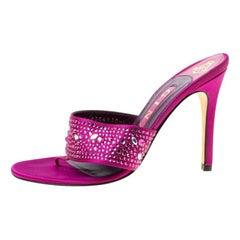 Gina Purple Satin Crystal Embellished Thong Sandals Size 37