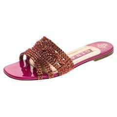 Gina Red/Pink Crystal Embellished Leather Flat Slides Size 38.5