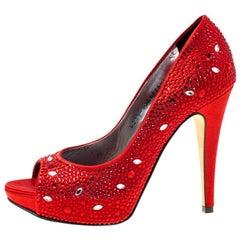 Gina Red Satin Crystal Embellished Peep Toe Platform Pumps Size 37