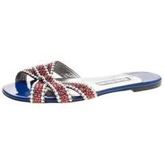 Gina Red/White Crystal Embellished Flat Slides Size 38.5