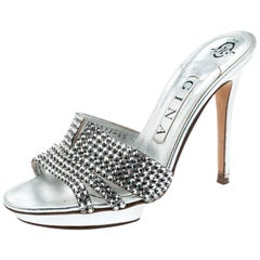 Gina Silver Crystal Embellished Leather Platform Sandals Size 37.5