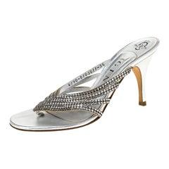 Gina Silver Crystal Embellished Leather Sandals Size 36.5