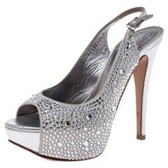 Gina Silver Satin Crystal Embellished Peep Toe Platform Slingback Sandals 36