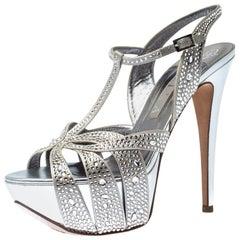 Gina Sliver Crystal Embellished Satin T Strap Platform Sandals Size 40