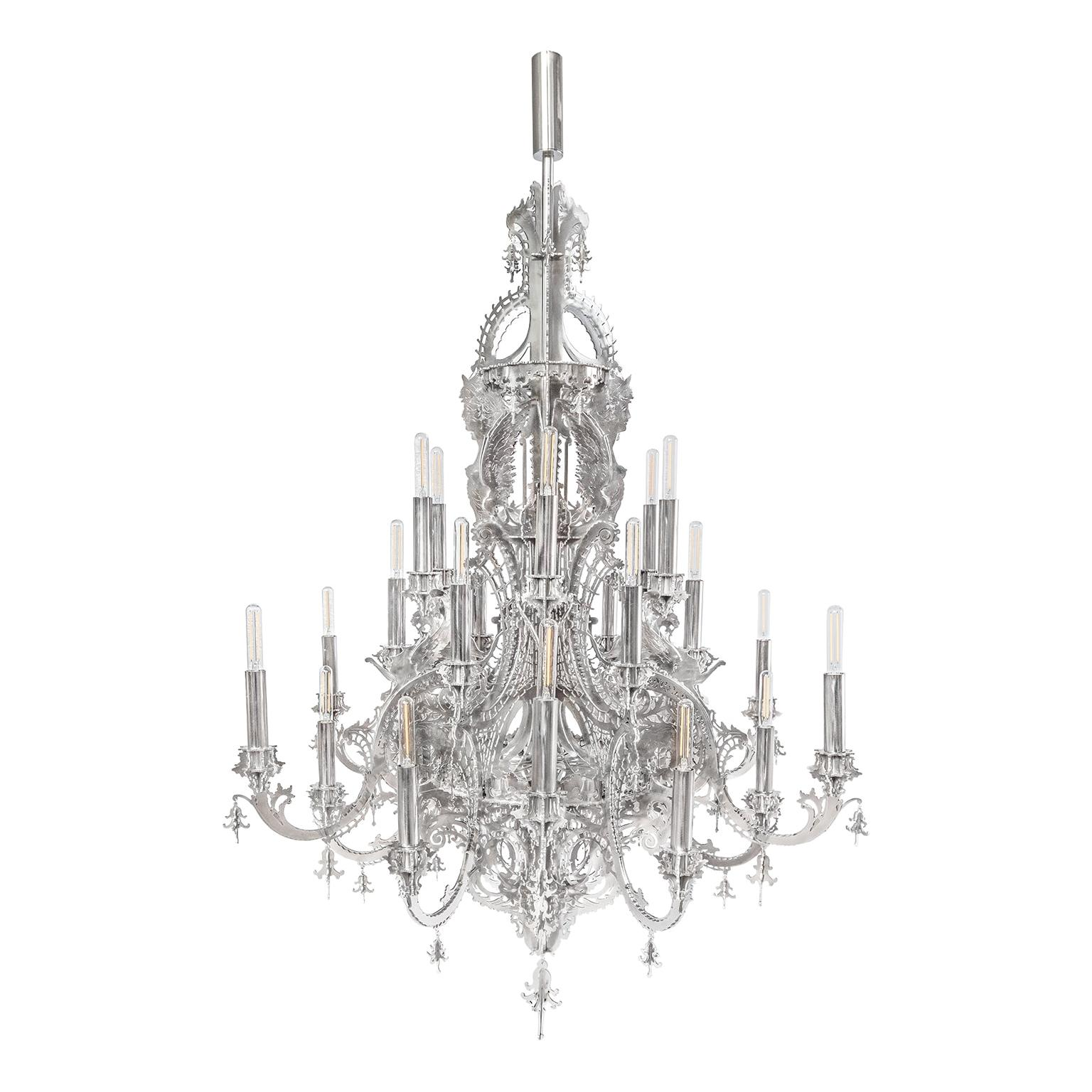 """""""Gina"""" Stainless Steel Metallic Lace Chandelier, 24 Lights"""