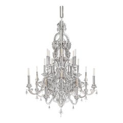 """Gina"" Stainless Steel Metallic Lace Chandelier, 24 Lights"