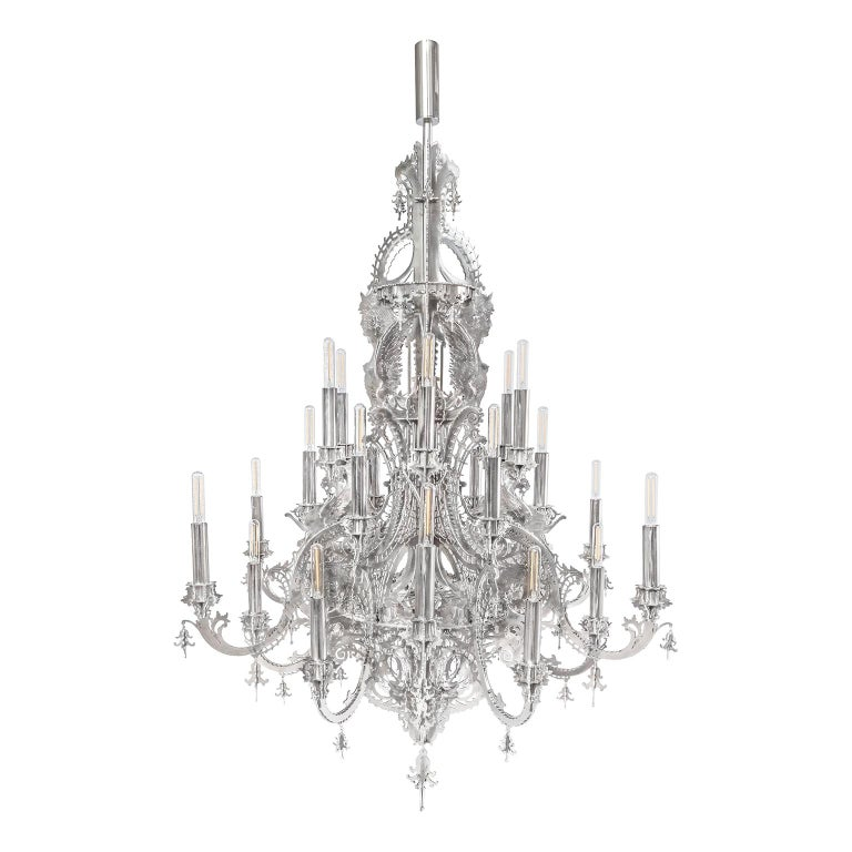 """""""Gina"""" Stainless Steel Metallic Lace Chandelier, 24 Lights For Sale"""