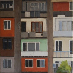 Apartment Building II -21st Century Contemporary City scape Painting