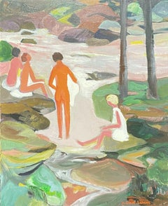 GINET-LASNIER (1927-2020) FRENCH MODERNIST OIL - BATHERS IN WOODLAND RIVER POOL