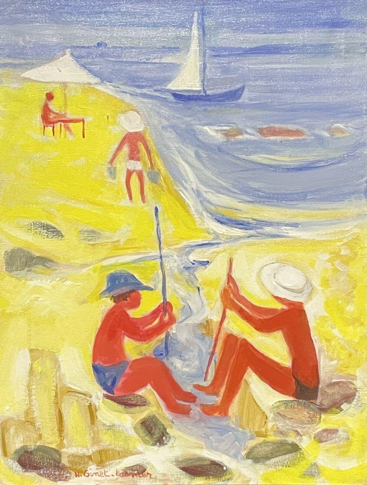 GINET-LASNIER (1927-2020) LARGE FRENCH OIL - MODERNIST FAMILY ON GOLDEN BEACH