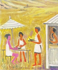SIGNED FRENCH OIL - MODERNIST FAMILY HAVING LUNCH OUTSIDE SUN SCORCHED VIEW