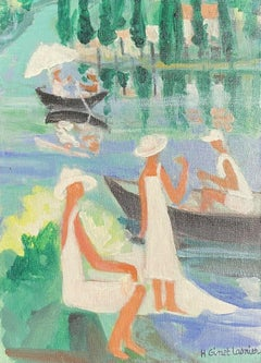 FRENCH MODERNIST COLORFUL OIL - FIGURES ON THE RIVER ENJOYING LAZY SUMMER DAYS