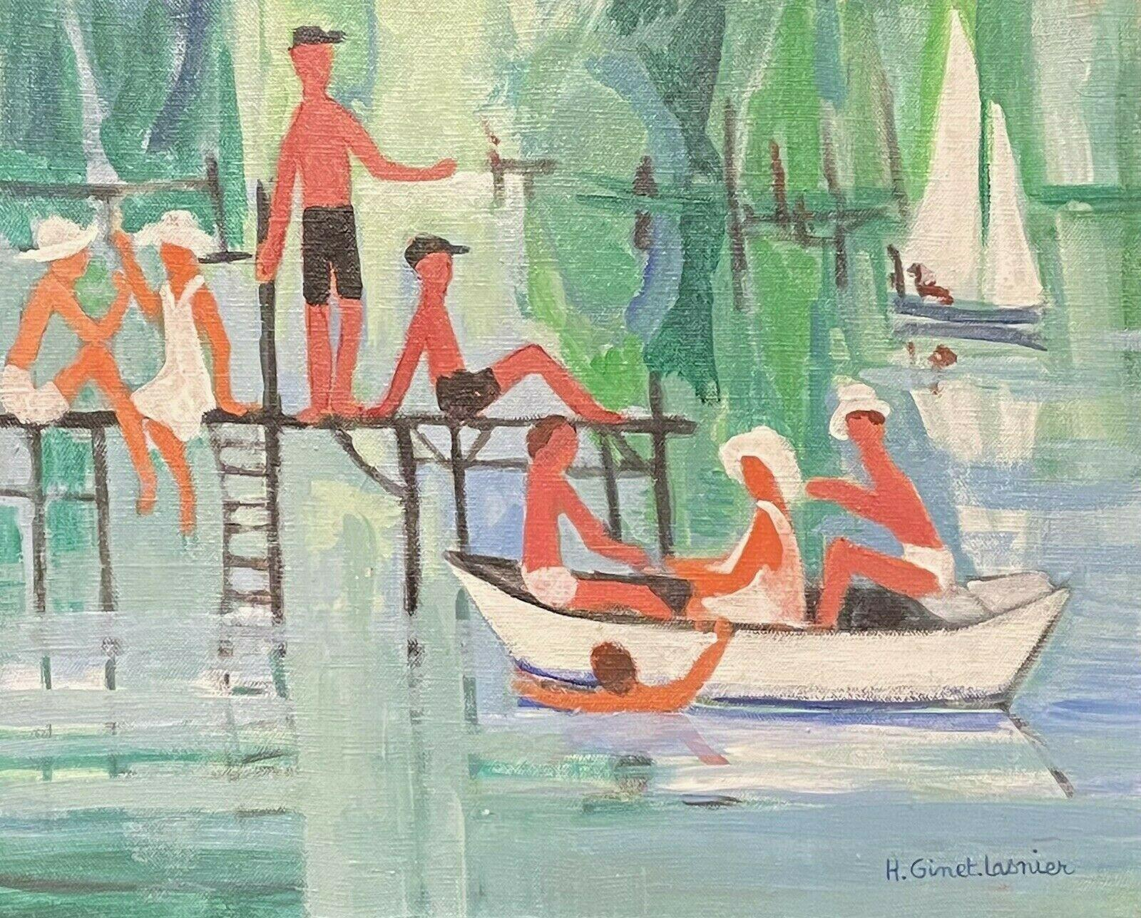 GINET-LASNIER (1927-2020) FRENCH MODERNIST OIL - YOUNG PLAYING ON THE RIVER BOAT