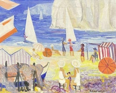 GINET-LASNIER (1927-2020) FRENCH OIL - BRIGHT & COLOURFUL BEACH SCENE FIGURES