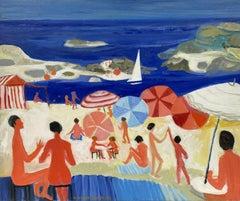 HUGUETTE GINET-LASNIER (1927-2020) FRENCH MODERNIST OIL - PARASOLS ON THE BEACH