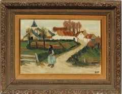 Antique French Impressionist Countryside Village Landscape Signed Oil Painting
