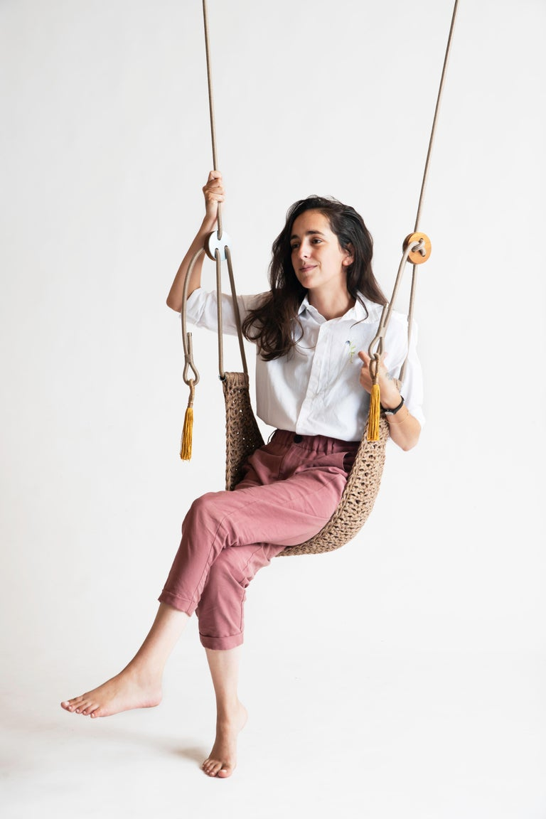 Israeli Ginger Saddle Swing Handmade Crochet Outdoor UV Protected Textile Hammock Seat For Sale
