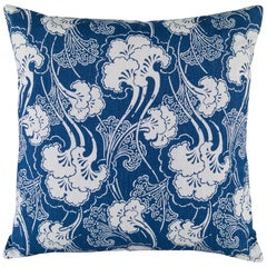 Ginkgoleaf Pillow in Indigo and White by CuratedKravet