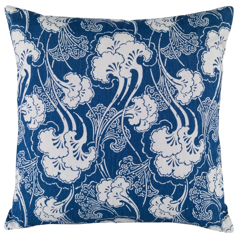 Ginkgoleaf Pillow in Indigo by Curatedkravet For Sale