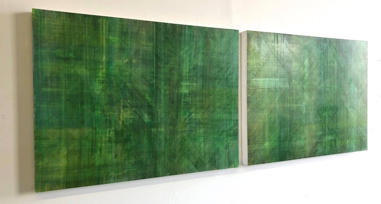 C14-10 (Minimalist Green Wall Sculpture in Three Panels) - Painting by Ginny Fox