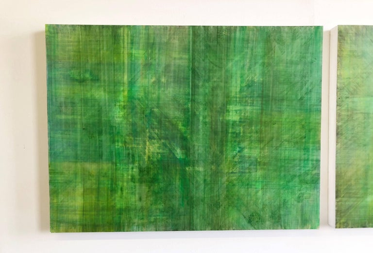 C14-10 (Minimalist Green Wall Sculpture in Three Panels) - Contemporary Painting by Ginny Fox