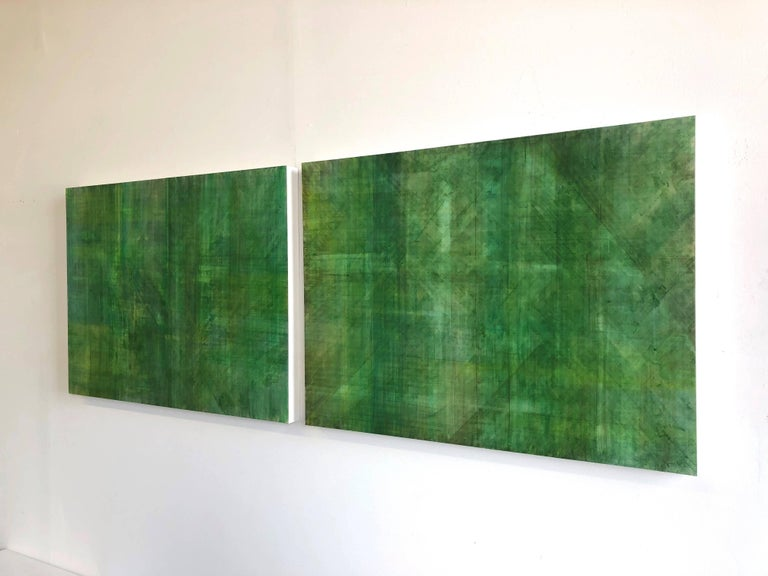 Acrylic on 2 wood panels. 30 x 40 each. Horizontal or Vertical installation possible.   Luminous green cross hatched painting on wood panel. This piece has a sculptural element that sets it apart from traditional 2D painting. The artist applies many
