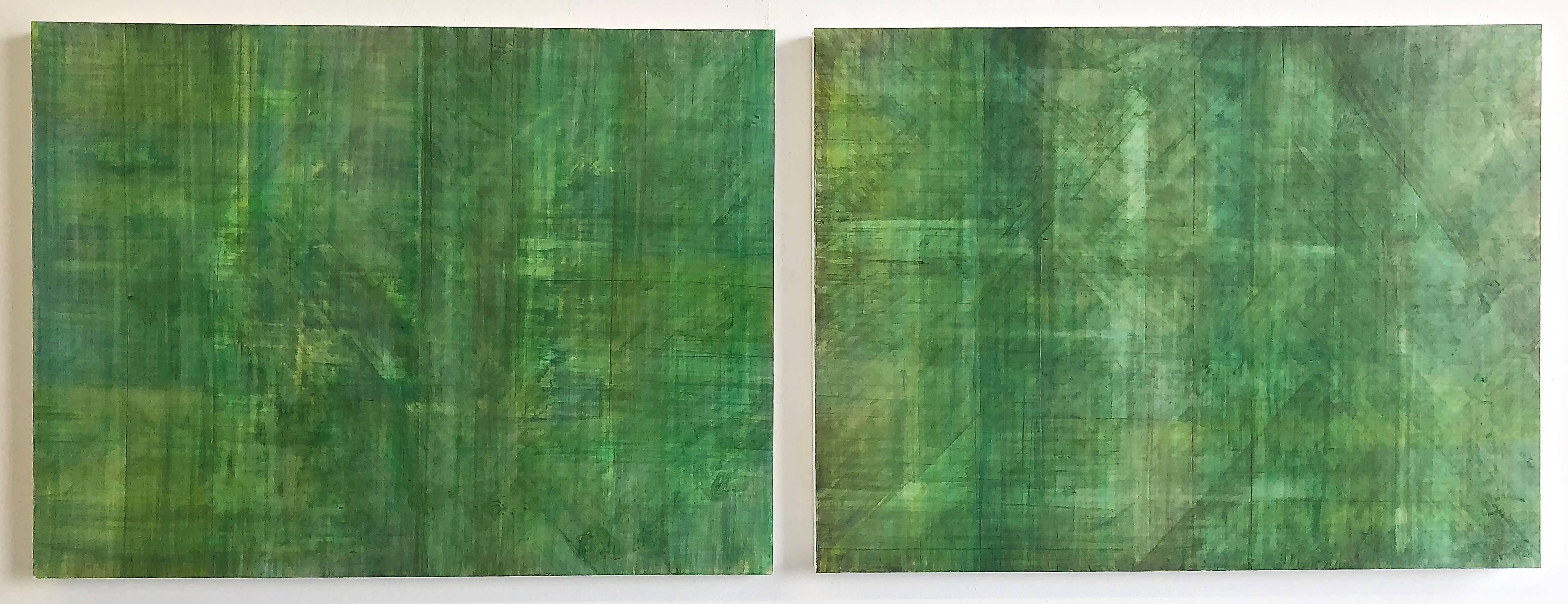 C14-10 (Minimalist Green Wall Sculpture in Two Panels, Diptych)